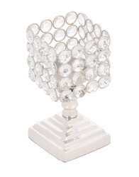 White Metal Crystal Glass Candle Holder Stand