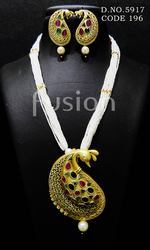 Traditional Antique Pearl Beaded Pendant Set