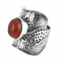 Large Stunning 925 Silver Carnelian Ring