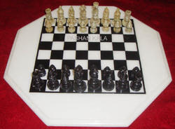 White Octagonal Marble Chess Table