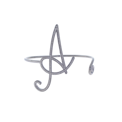 A Letter Charm Diamond Bangle