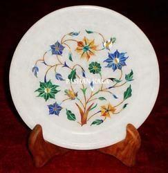 Marble Pietra Dura Round Shape Plate