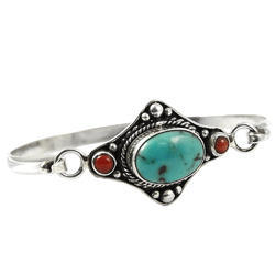 Mystic Princess Turquoise Coral 925 Sterling Silver Bangle