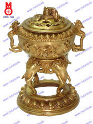 Dhoop Burner on Elephant Head W/Dragon