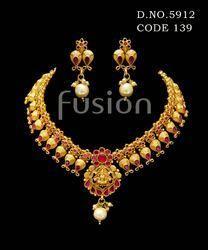 Traditional Temple Matt Polish Necklace Set