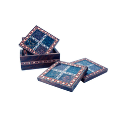 3''x3'' Pine Wood Gem Stone Coaster Set