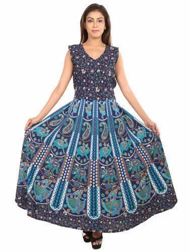482390bcf3 Rajasthani Cotton Maxi Dress - Cotton Jaipuri Printed Dress ...