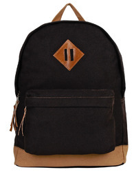 Basic Black Canvas Backpack With Leather Trim