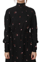 Flower Print Black Short Dress For Ladies