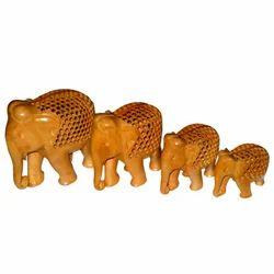 Wooden Undercut Work Elephant Set