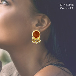 Kundan Pearl Stud Earring