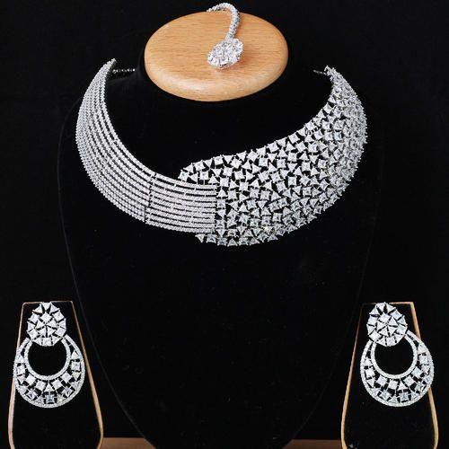 Heavy American Diamond Necklace Set