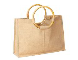 Round Wooden Handle Jute Shopping Bags