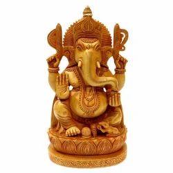 Wooden Open Kamal Ganesha