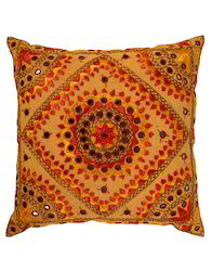 Yellow And Red Floral Embroidered Cotton Sofa Cushion Cover