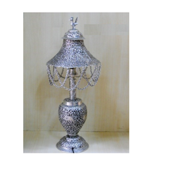 White Metal Silver Table Lamp