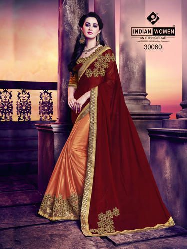 Indian Women Maroon and Orange Marble Chiffon And Lycra Saree