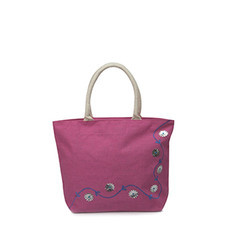 Juteberry Jute Pink Bag with Side Embroidery & Floral Work