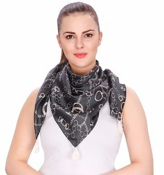 Printed Satin Triangular Scarf