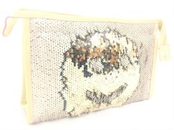 SHAMAX COLOR CHANGING SEQUENCE RECTANGLE GOLDEN COSMETIC BAG