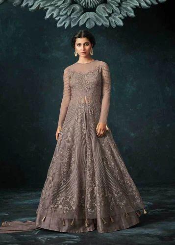 84988b4bd Western Top - Rosey Brown Color Net Floor Length Party Wear Anarkali ...