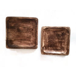 Square Wooden Platters