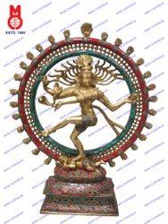 Natraj Dancing W/Flower Stone Work Statue