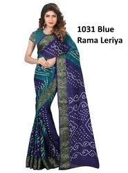 Blue Printed Bandhani Saree