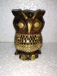 Wooden Owl With Mirror Work