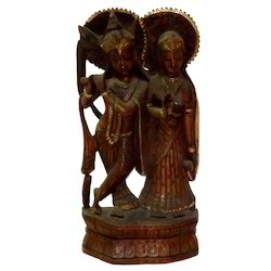 Wooden Radha Krishna Statue With Black Finishing Work