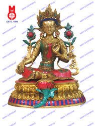 Green Tara Sitting Double Base W/Stone Work & Wire Beed Work Statue