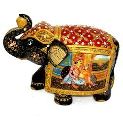 Wooden Elephant With Mughal Painting Work
