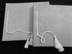 Silk Fabric Covered Photo Albums With Cotton Tassel Ties