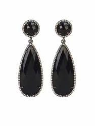 Black Onyx & Cz Earrings