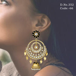Antique Kundan Chandbali Earrings