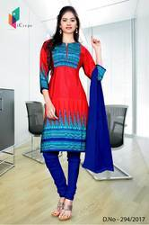 Red and Blue Italian Crepe Uniform Salwar Kameez