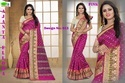Hand Printed Poly Silk Saree With Double Blouse