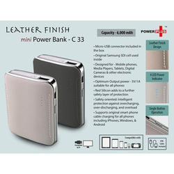 Leather Finish Mini Power Bank