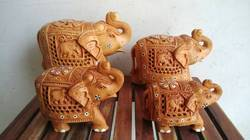 Wooden Elephant With Undercut Work