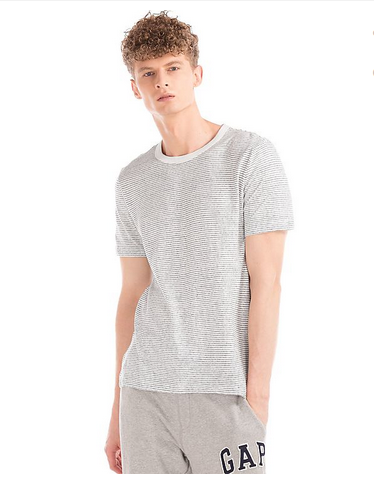 69a3fed1bc Men T-Shirts - Linen-Cotton Stripe Crewneck Tee Manufacturer from Ahmedabad