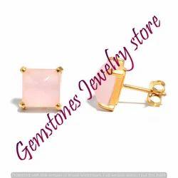 Pink Chalcedony Gemstone Ear Stud