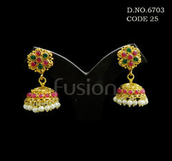 Bollywood Style Pearl Hanging Antique Earrings