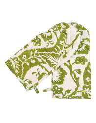 Parrot Green Floral Leaves Design kitchen Oven Mitt