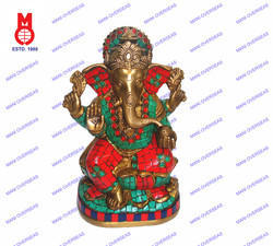 Lord Ganesh Sitting On Lotus Base W/Stone Statue
