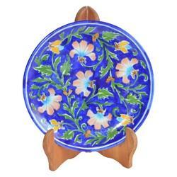 Blue Pottery Plate With Stand