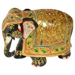 Wooden Elephant With Ganesh Painted Statue