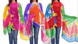 Multi Color Bandhej Dupatta - Chiffon Dupatta - Leheriya Dupatta