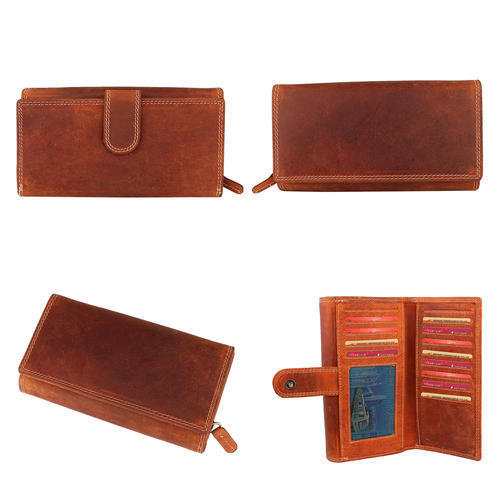 Ladies Wallet - Genuine Leather Hunter Leather Ladies Clutch Wallet , Brown Color Manufacturer from New Delhi