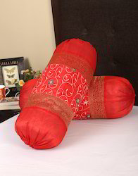Red Leaves Embroidered Round Bolster Cover