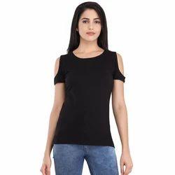 Cottinfab Women's Solid Cold Shoulder Top
